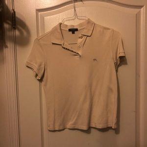 Tan Burberry collared shirt